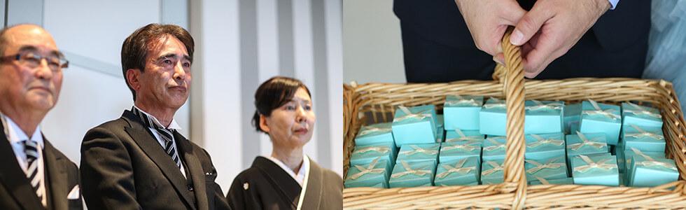 おふたりからのプレゼントボックスはもちろんブルーがテーマに